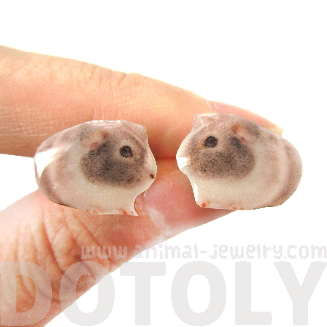 Realistic Guinea pig Shaped Animal Resin Stud Earrings | Handmade