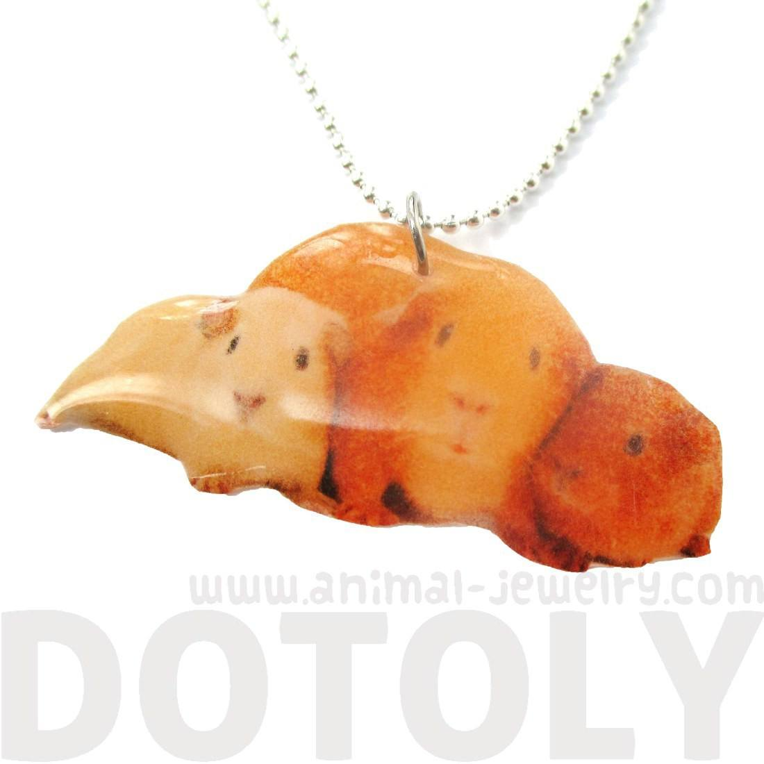 Realistic Guinea Pigs Hamsters Animal Shaped Handmade Pendant Necklace