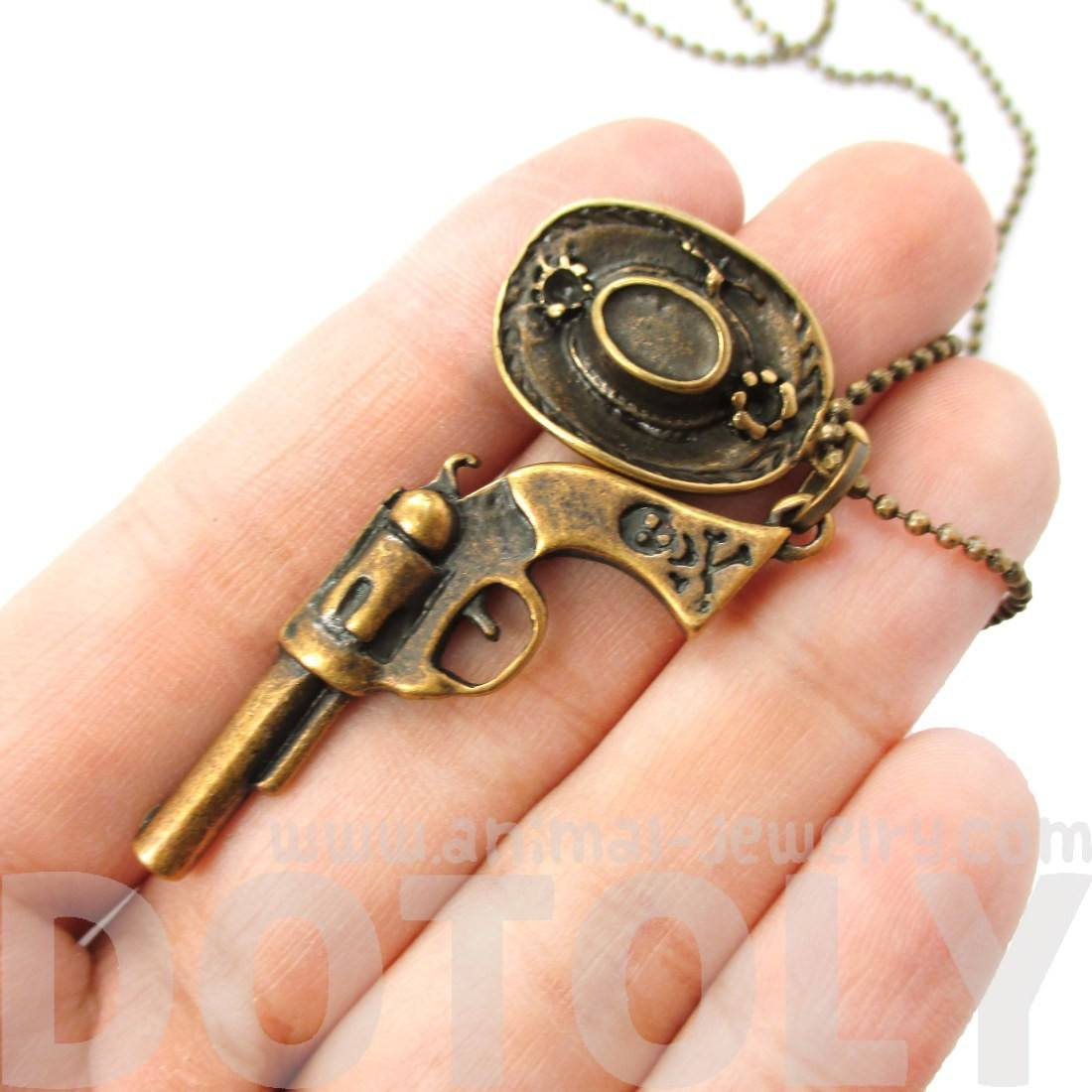 Gun Pistol Revolver and Cowboy Hat Shaped Pendant Necklace in Bronze