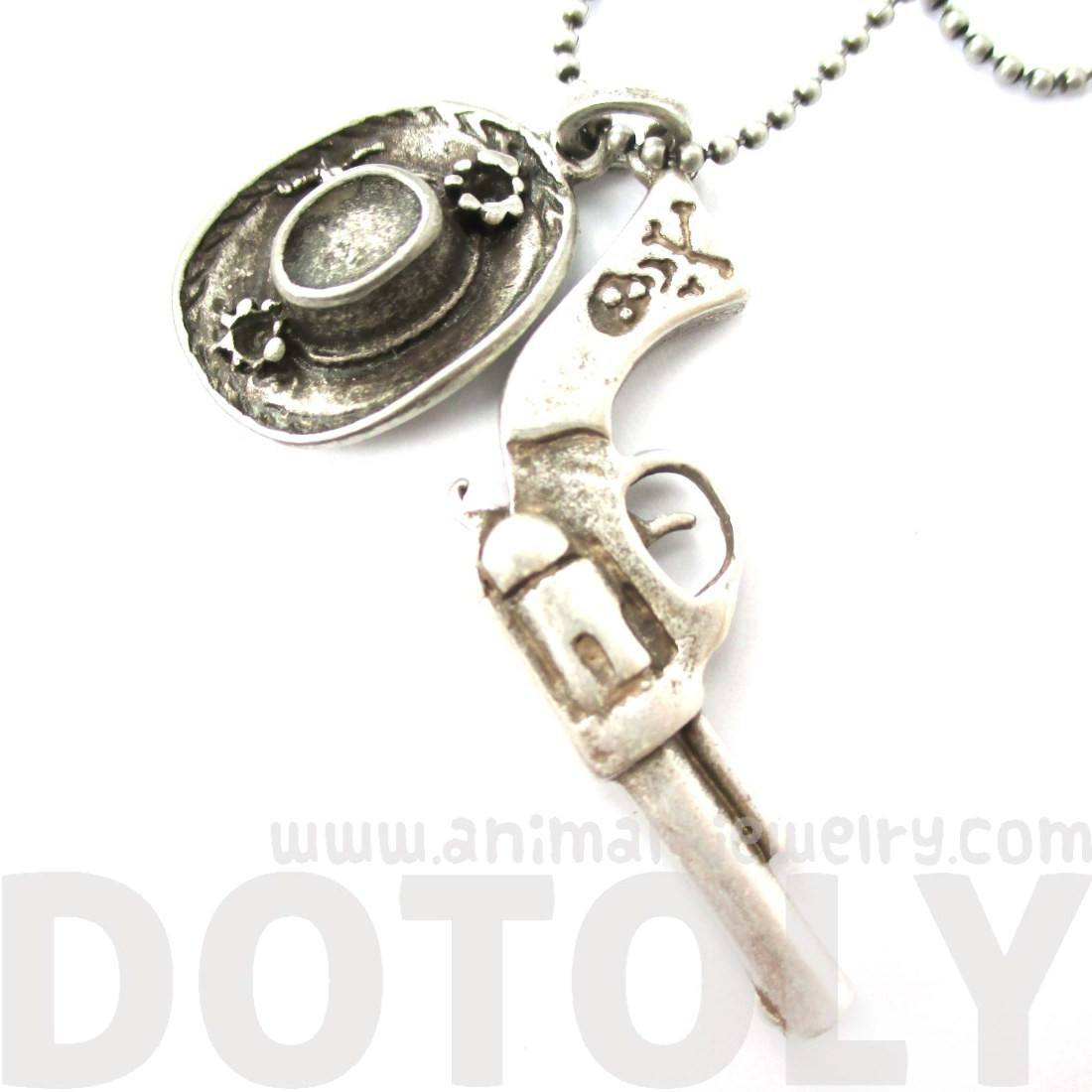 Gun Pistol Revolver and Cowboy Hat Shaped Pendant Necklace in Silver