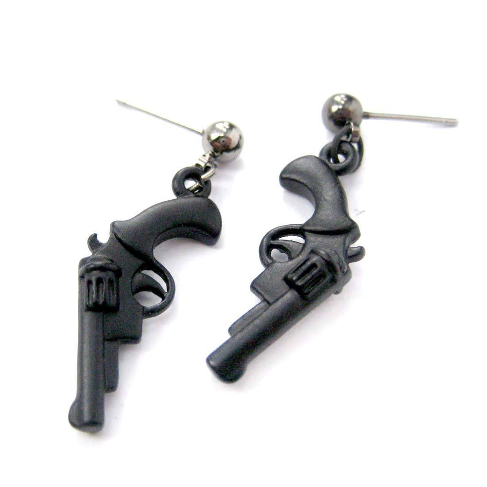 Realistic Gun Pistol Revolver Shaped Dangle Stud Earrings in Black