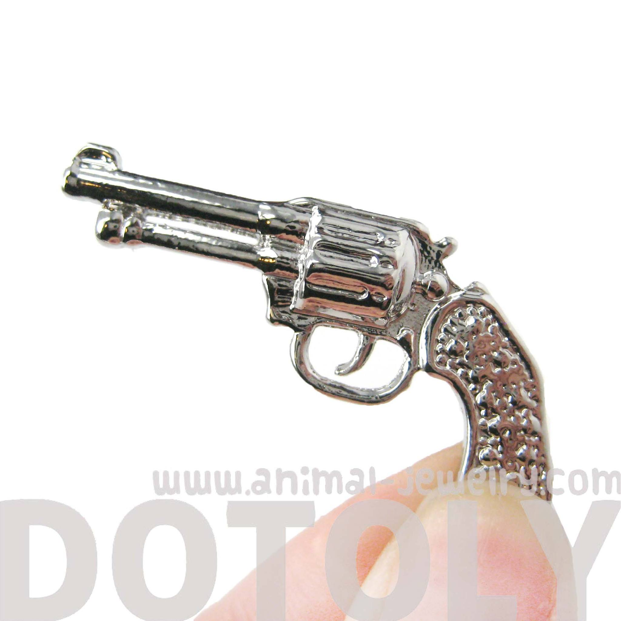 Realistic Gun Pistol Shaped Stud Earring Cuff in Shiny Silver | DOTOLY