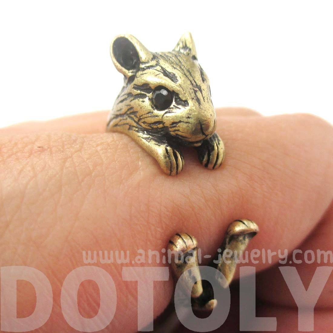 Realistic Hamster Gerbil Guinea Pig Shaped Animal Wrap Ring in Brass