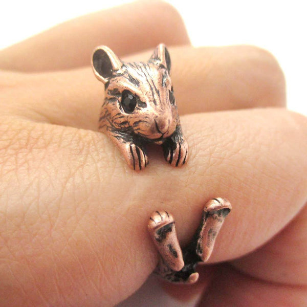 Realistic Hamster Gerbil Guinea Pig Shaped Animal Wrap Around Ring in Copper | US Sizes 4 to 8.5 | DOTOLY
