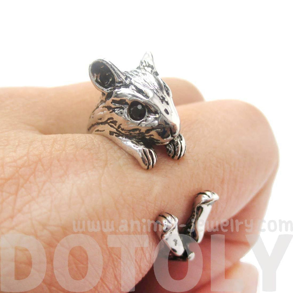 Hamster Gerbil Guinea Pig Shaped Animal Wrap Around Ring in Shiny Silver | DOTOLY