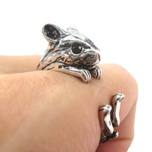 Cute Hamster Gerbil Guinea Pig Shaped Animal Wrap Ring in Shiny Silver