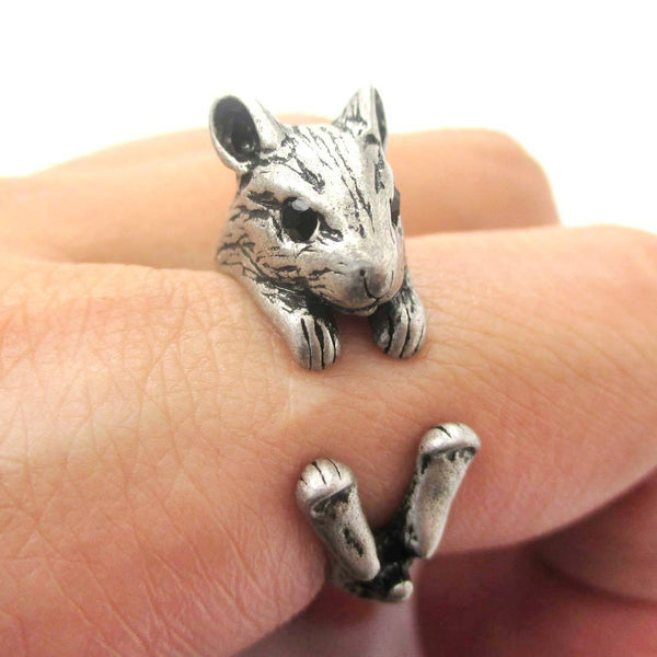 Realistic Hamster Gerbil Guinea Pig Shaped Animal Wrap Ring in Silver