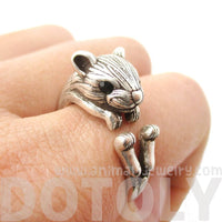 Realistic Hamster Gerbil Shaped Animal Ring in Silver | US Size 6 to 9