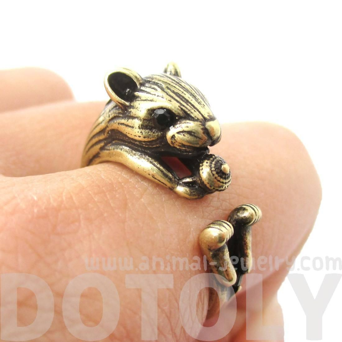 Realistic Hamster Gerbil With Walnut Animal Wrap Ring in Brass