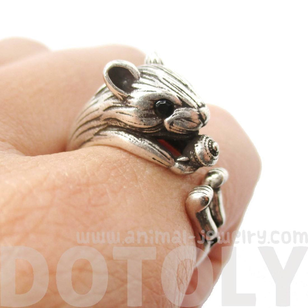 Realistic Hamster Gerbil With Walnut Animal Wrap Ring in Silver