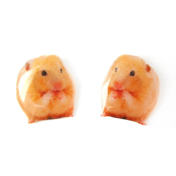 Realistic Hamster Mouse Shaped Animal Resin Stud Earrings | Handmade