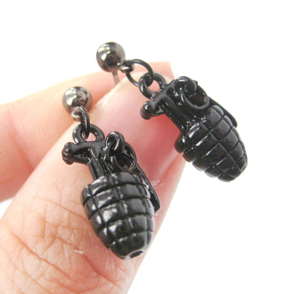 Hand Grenade Bomb Ammo Shaped Dangle Drop Stud Earrings in Black
