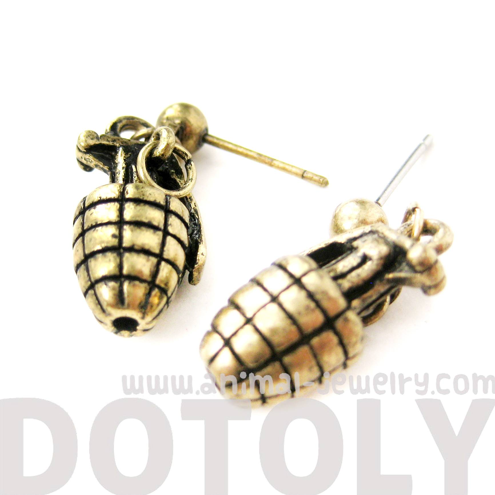 Hand Grenade Bomb Ammo Shaped Dangle Drop Stud Earrings in Brass