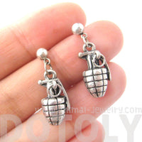 Realistic Hand Grenade Bomb Ammo Shaped Dangle Drop Stud Earrings in Silver | DOTOLY