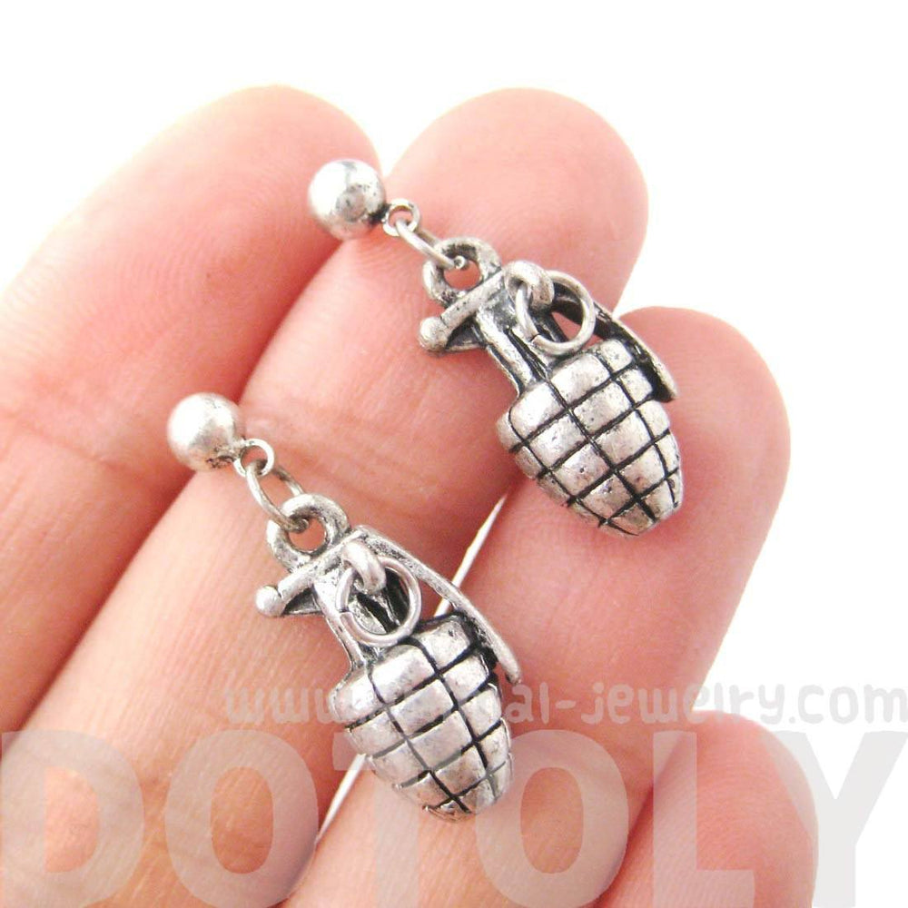 Hand Grenade Bomb Ammo Shaped Dangle Drop Stud Earrings in Silver