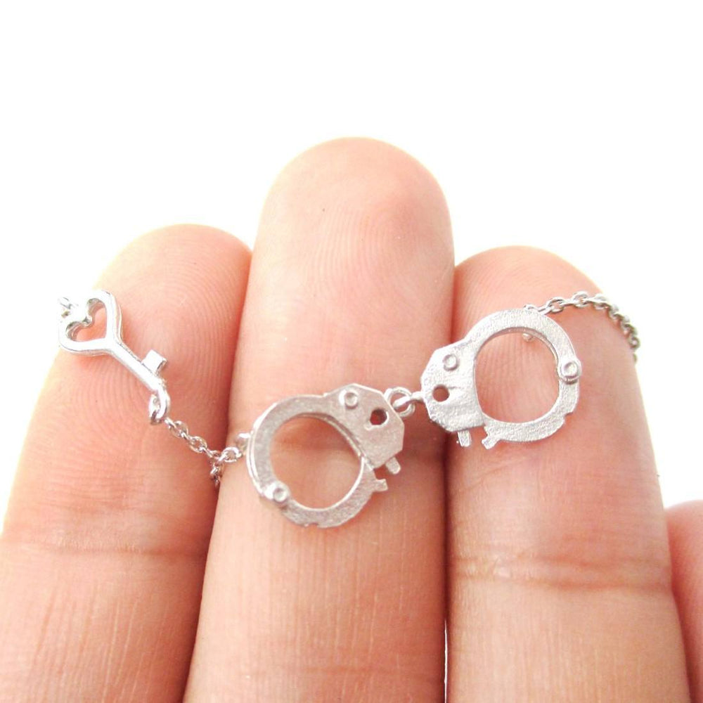 Realistic Handcuff and Heart Shaped Key Charm Necklace in Silver
