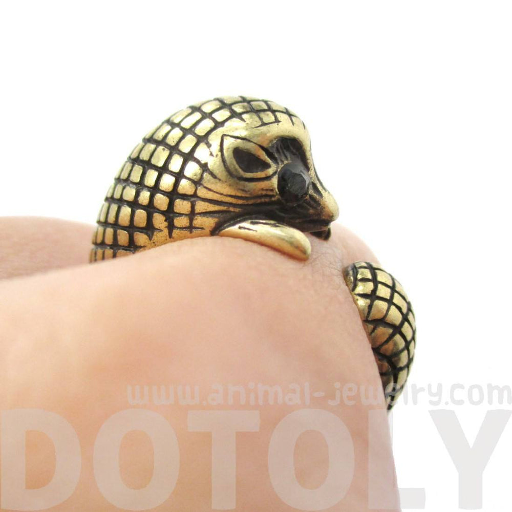 Realistic Hedgehog Porcupine Shaped Animal Wrap Ring in Brass | DOTOLY