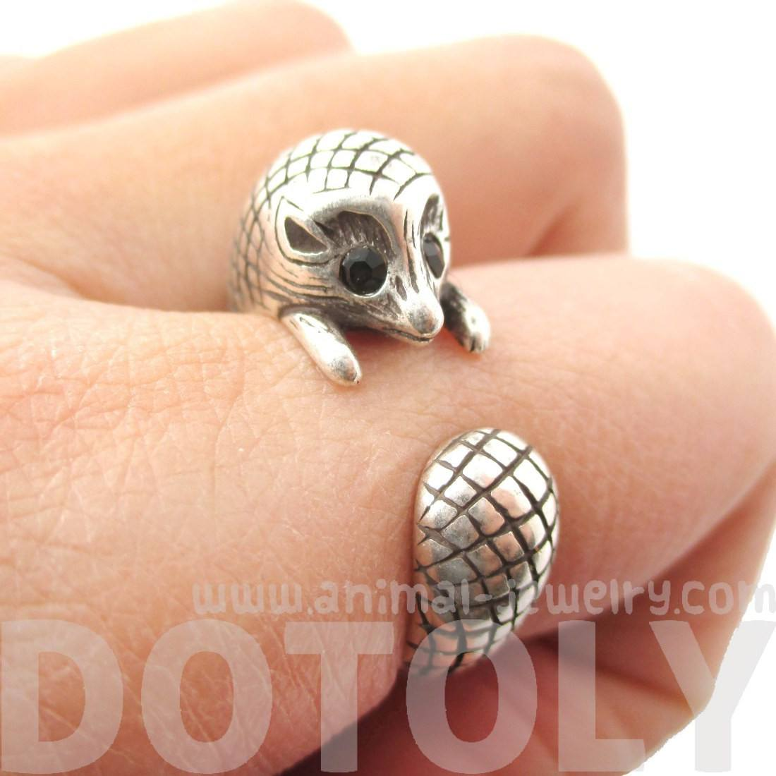 Realistic Hedgehog Porcupine Shaped Animal Wrap Ring in Silver