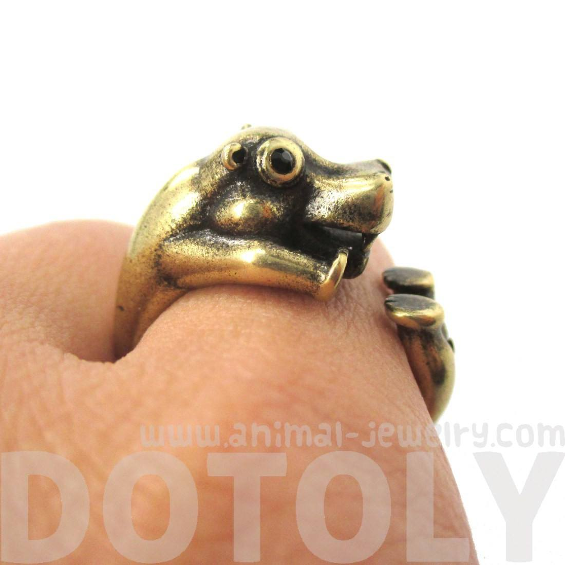 3D Realistic Hippo Hippopotamus Shaped Animal Wrap Ring in Brass