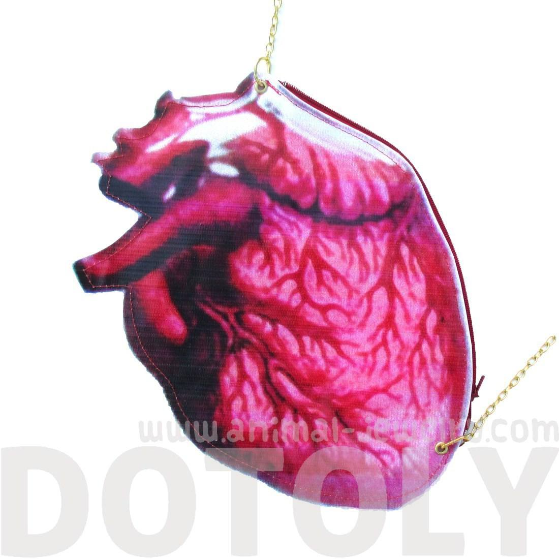 Realistic Human Heart Organ Anatomy Shaped Vinyl X Body Shoulder Bag