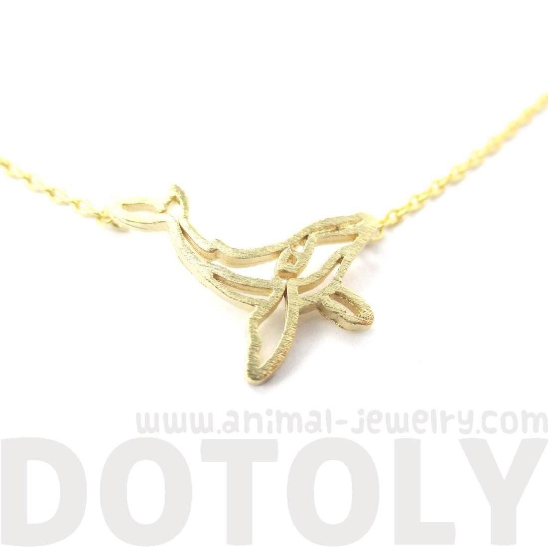 Realistic Humpback Whale Silhouette Animal Charm Necklace in Gold