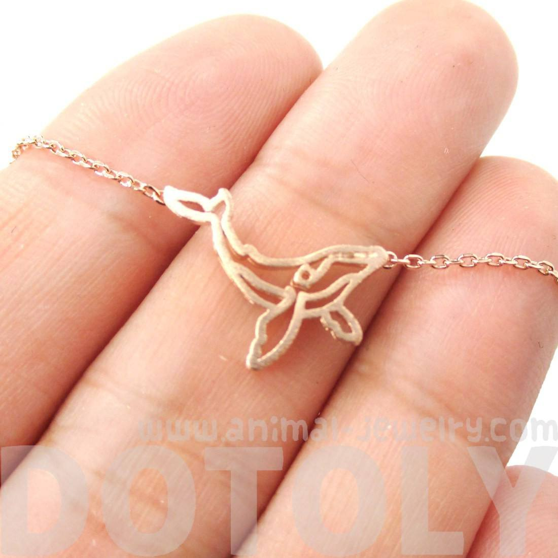Realistic Humpback Whale Silhouette Animal Charm Necklace in Rose Gold