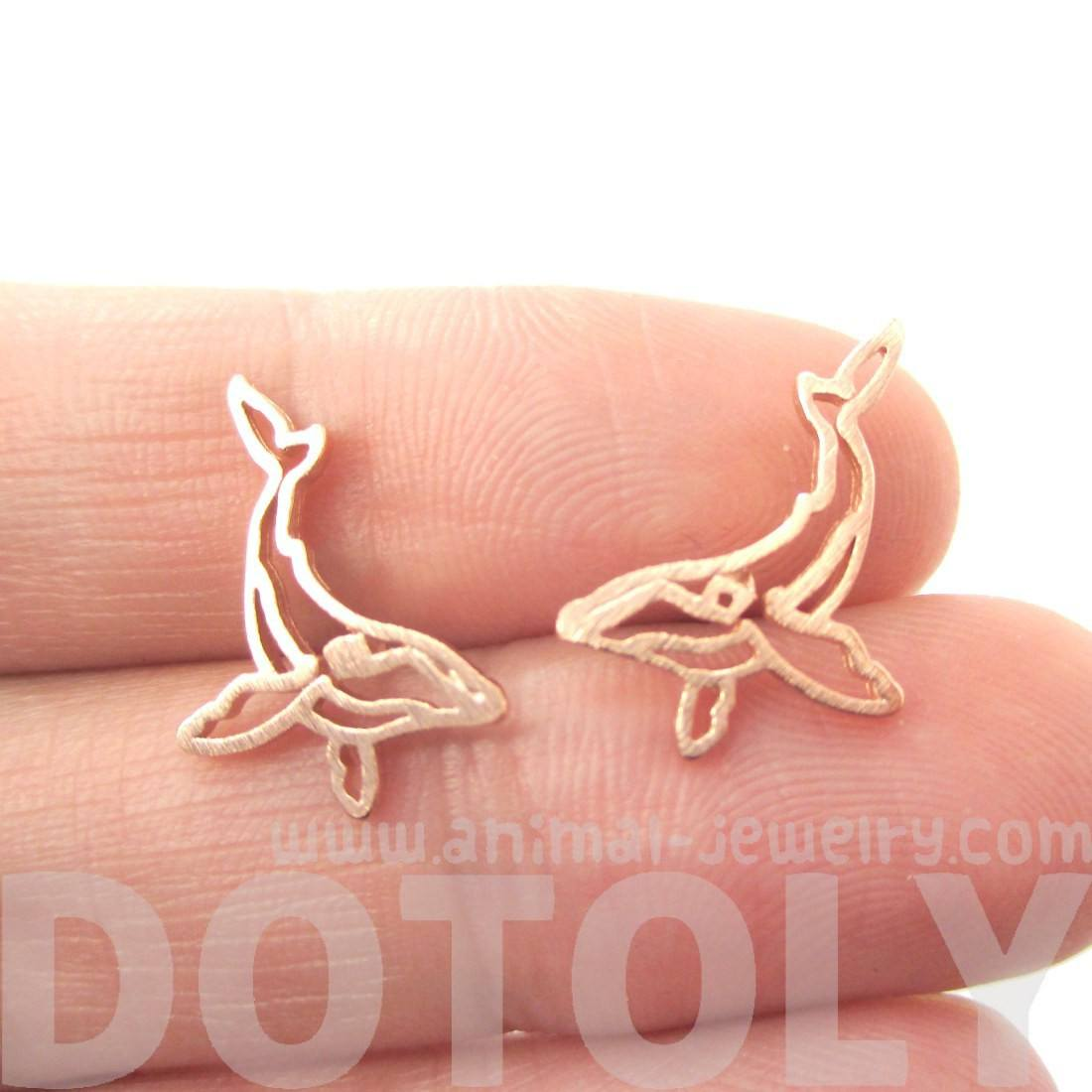 Small Humpback Whale Silhouette Animal Stud Earrings in Rose Gold