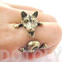Realistic Husky Puppy Shaped Animal Wrap Ring in Brass | Sizes 6 to 9 | DOTOLY