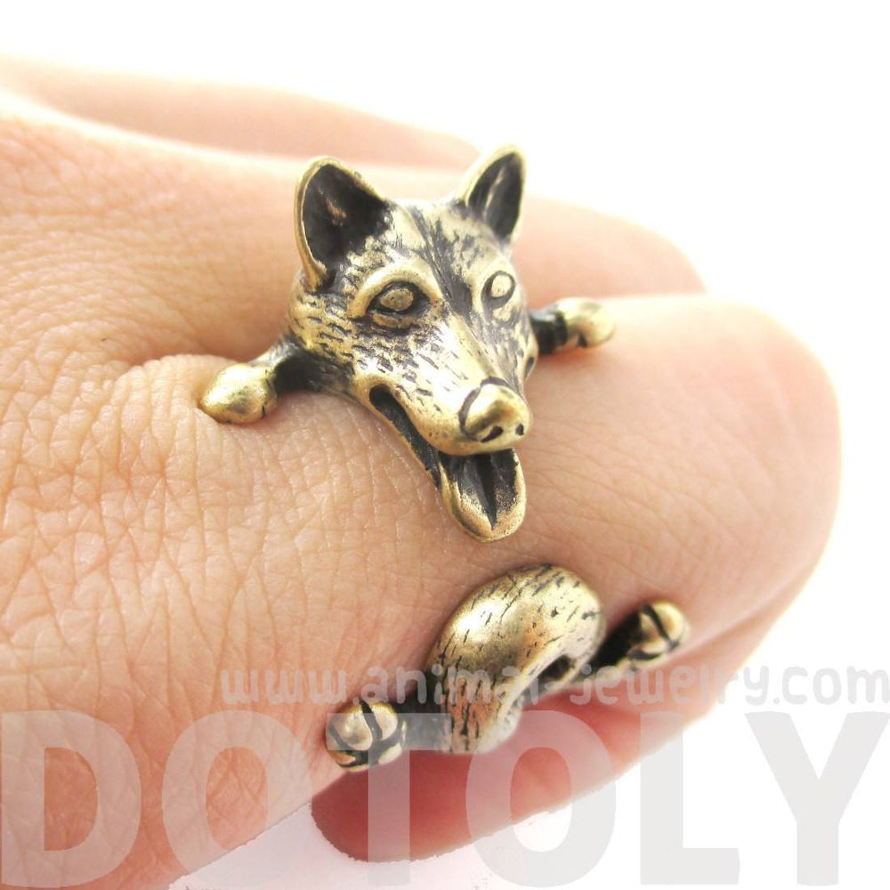 Realistic Husky Puppy Shaped Animal Wrap Ring in Brass