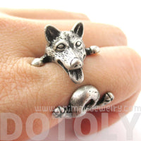 Realistic Husky Puppy Shaped Animal Wrap Ring in Silver