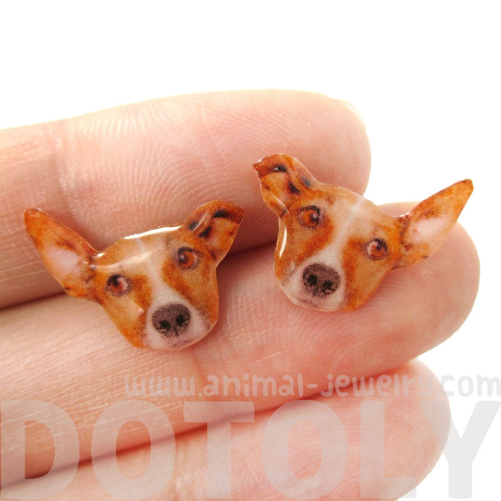 Adorable Jack Russell Terrier Face Shaped Animal Resin Stud Earrings