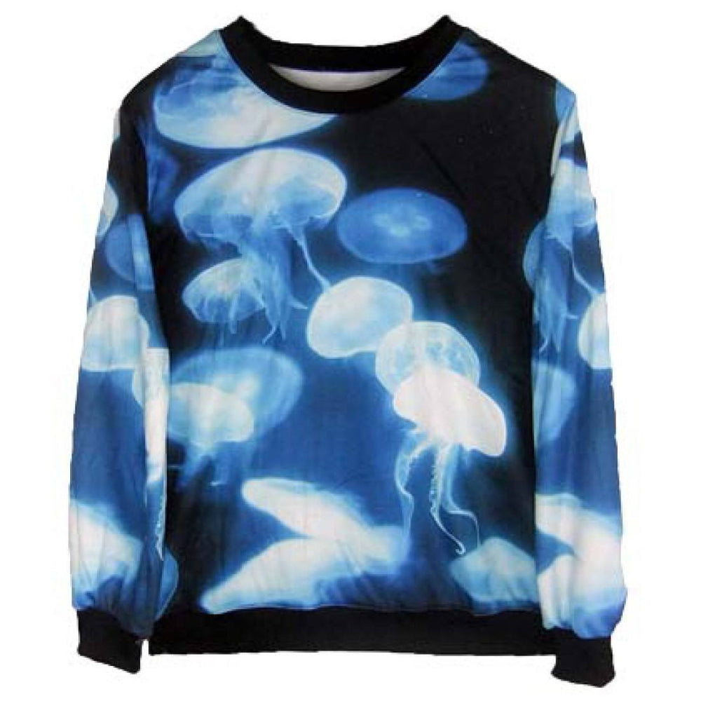Realistic Jellyfish Collage Digital Print Pullover Sweatshirt Sweater in Blue | Gifts for Animal Lovers