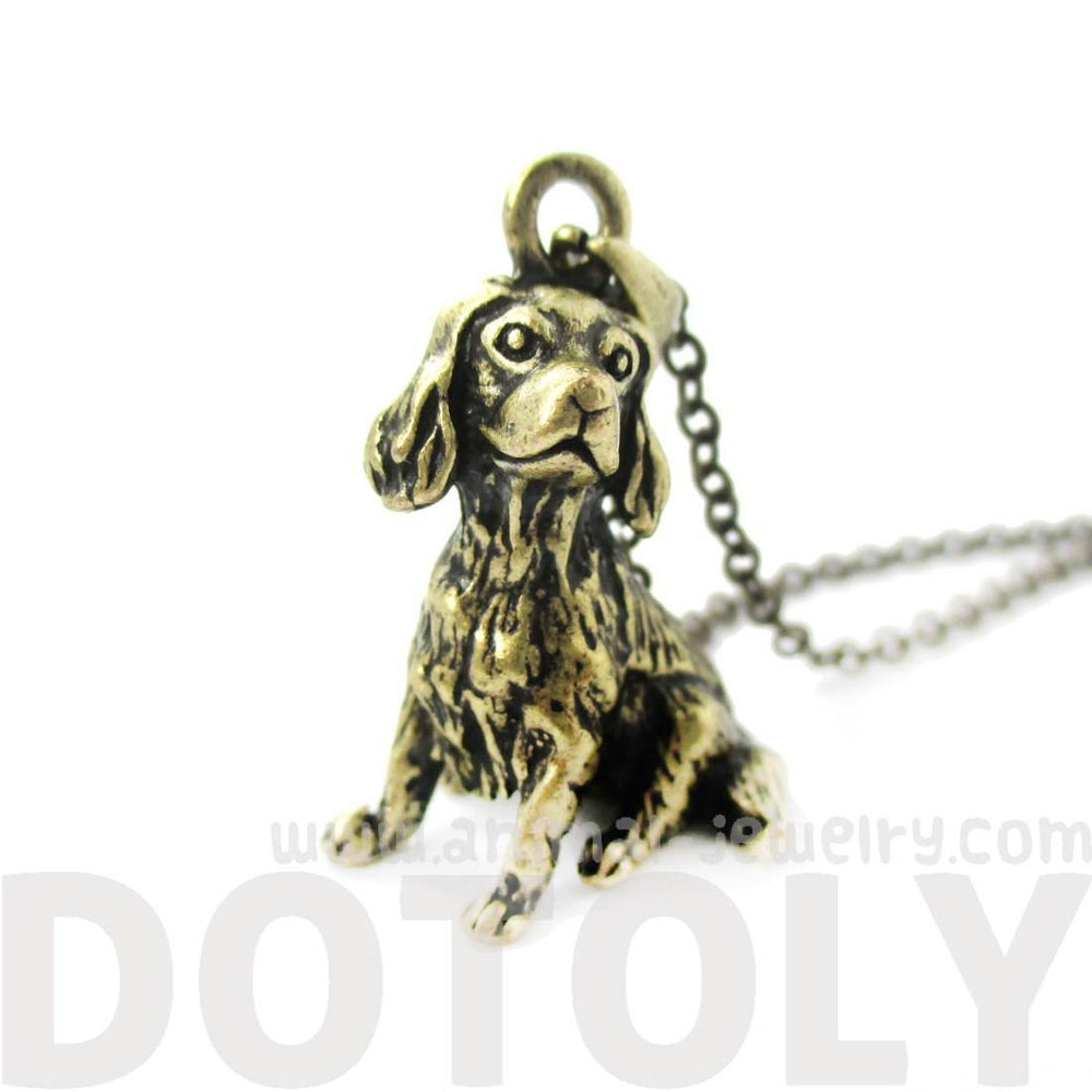 Realistic King Charles Spaniel Shaped Animal Charm Necklace in Brass