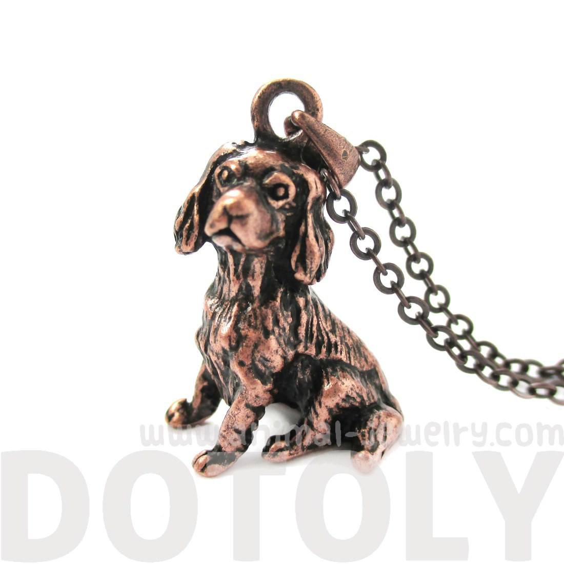Realistic King Charles Spaniel Shaped Animal Charm Necklace in Copper