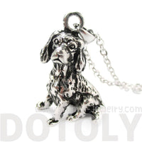 Realistic King Charles Spaniel Shaped Animal Pendant Necklace in Shiny Silver | DOTOLY
