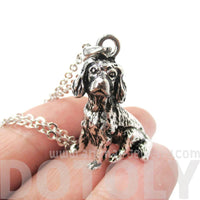 King Charles Spaniel Shaped Animal Pendant Necklace in Shiny Silver
