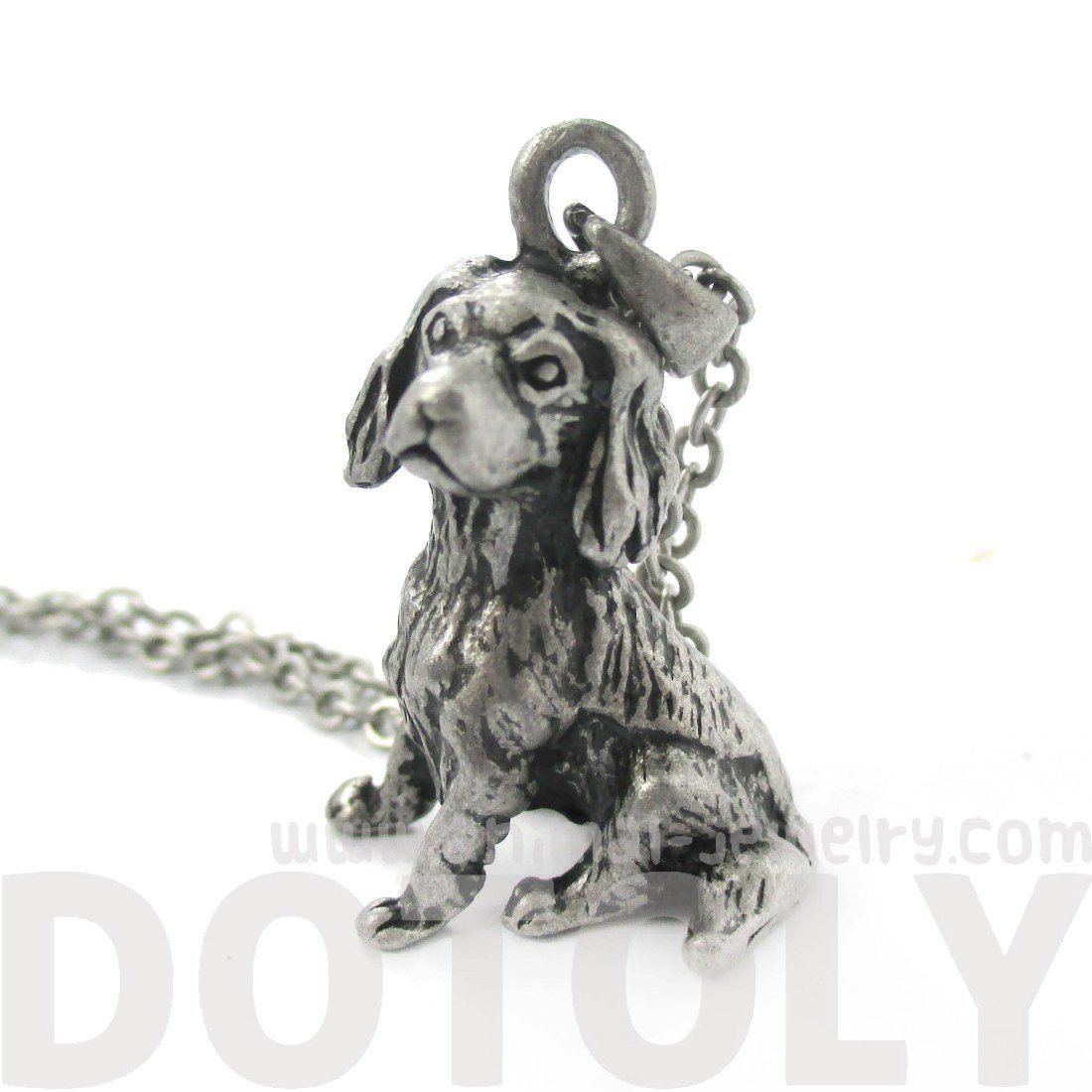 Realistic King Charles Spaniel Shaped Animal Charm Necklace in Silver