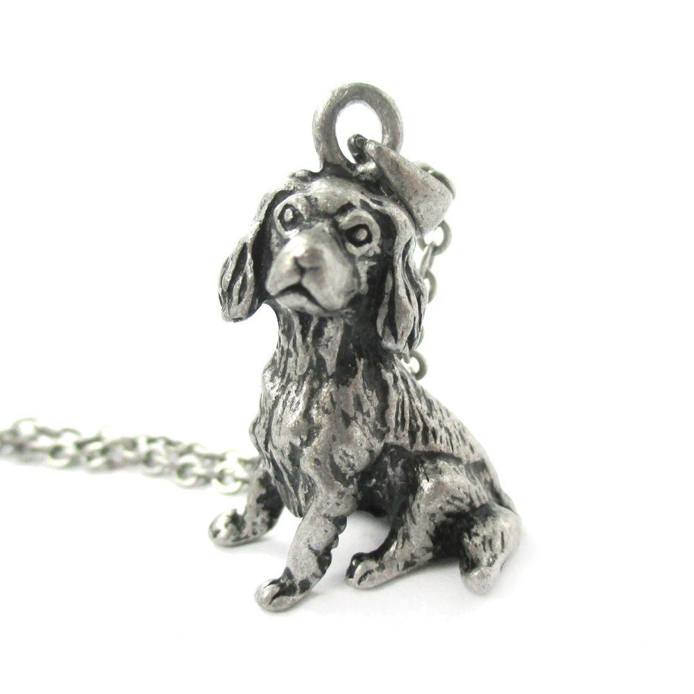 Realistic King Charles Spaniel Shaped Animal Pendant Necklace in Silver | Jewelry for Dog Lovers | DOTOLY