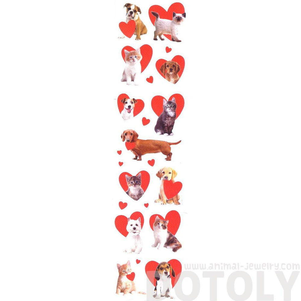 Kitty Cat and Puppy Dog Pet Animal Themed Heart Shaped Photo Stickers
