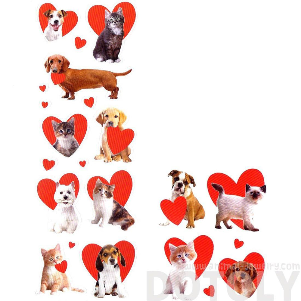 Realistic Kitty Cat and Puppy Dog Pet Animal Themed Heart Shaped Photo Stickers | 78 Stickers | DOTOLY