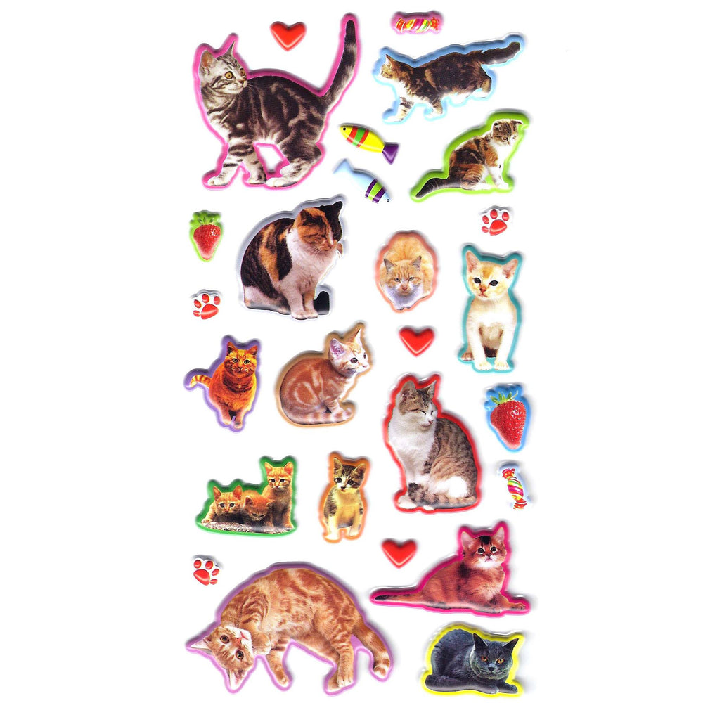 Realistic Kitty Cat Animal Shaped Photo Puffy Stickers for Scrapbooks