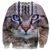 Realistic Kitty Cat Face Graphic Print Unisex Pullover Sweatshirt Sweater | Gifts for Cat Lovers | DOTOLY