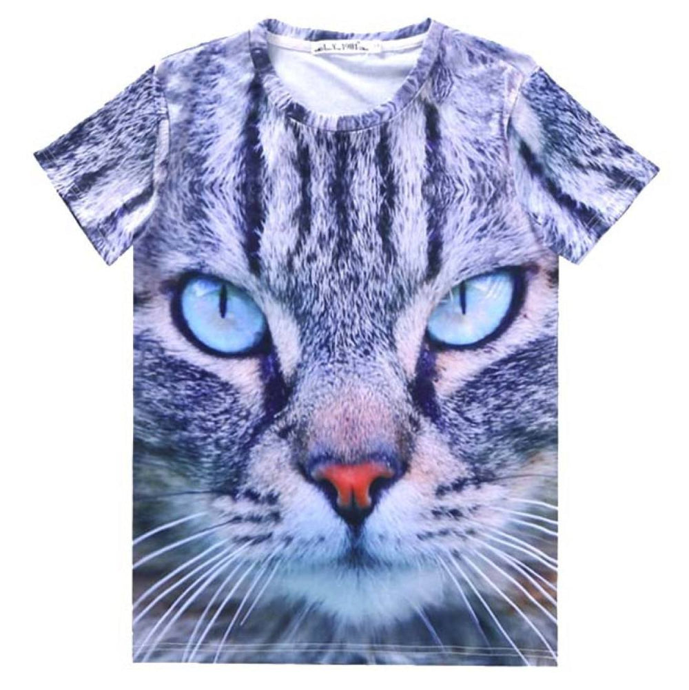 Realistic Kitty Cat Face Shaped  Graphic Print T-Shirt