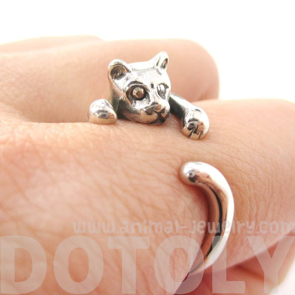 Realistic Kitty Cat Shaped Animal Wrap Around Ring in Sterling Silver