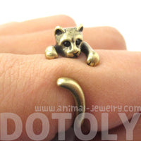 Realistic Kitty Cat Shaped Animal Wrap Ring in Brass | Animal Jewelry