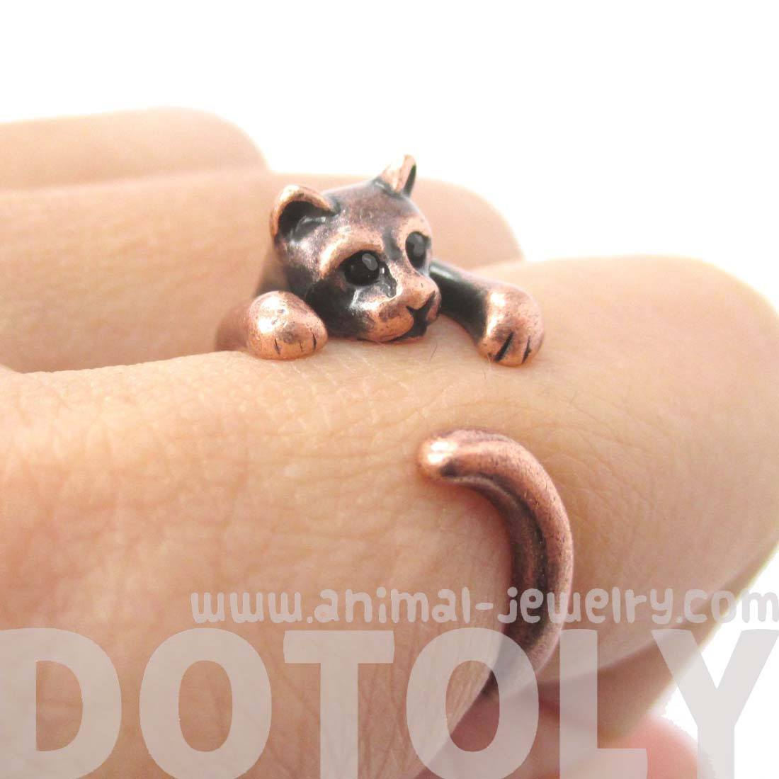 Realistic Kitty Cat Shaped Animal Wrap Around Ring in Copper | DOTOLY