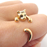Realistic Kitty Cat Shaped Animal Wrap Around Ring in Shiny Gold | US Size 3 to Size 8.5 | DOTOLY