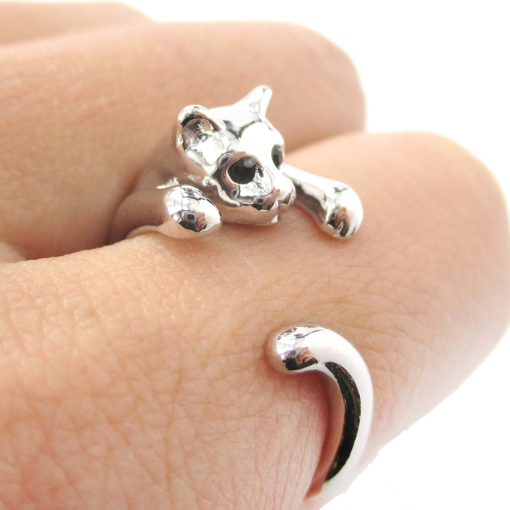 Realistic Kitty Cat Shaped Animal Wrap Around Ring in Shiny Silver | US Size 3 to Size 8.5 | DOTOLY
