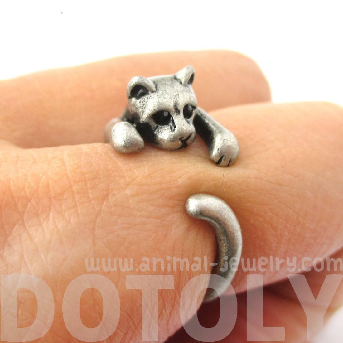 Realistic Kitty Cat Shaped Animal Wrap Ring in Silver | Animal Jewelry