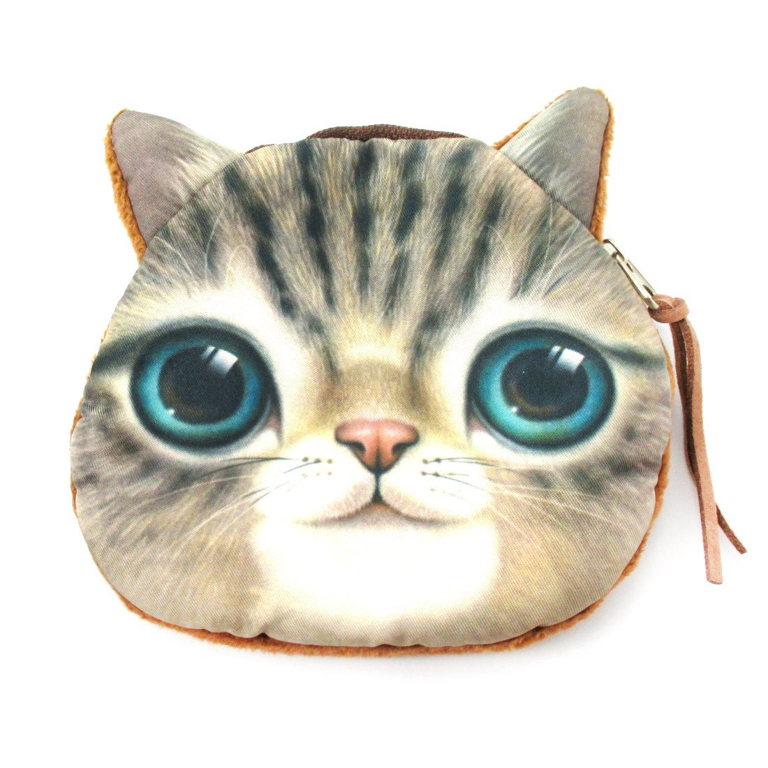 Kitty Cat Tabby Face Shaped Soft Fabric Zipper Coin Purse Make Up Bag